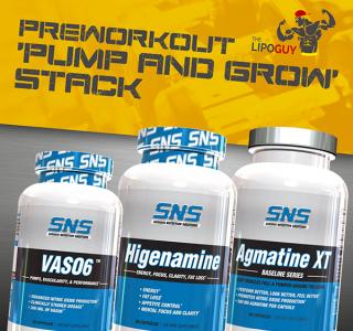 SNS Pump, Weight Loss & Endurance Stack - SNS Higenamine - Agmatine XT - Vaso6